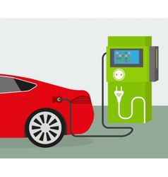 Electric car charging vector image