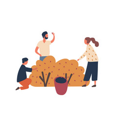 family collecting berries flat vector image