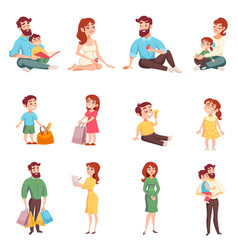 Family members cartoon style set vector