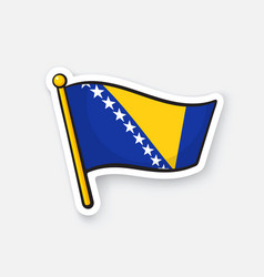 Flag bosnia and herzegovina on flagstaff vector