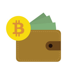 flat design bitcoin currency vector image