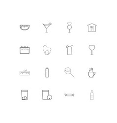 food and drink linear thin icons set outlined vector image
