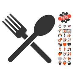 Fork and spoon icon with lovely bonus vector