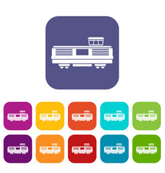 Freight train icons set vector