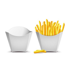 French fries white empty blank paper bag vector