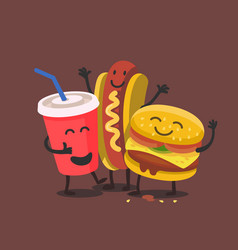 funny cute fast food vector image