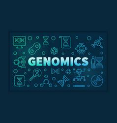 Genomics colorful line banner on dark vector