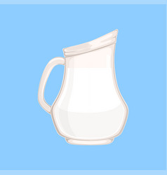 Glass jug or pitcher of milk fresh healthy dairy vector