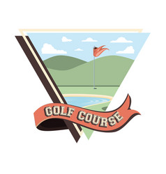 Golf curse with lake scene vector
