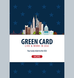 Green card lottery banner immigration and visa to vector