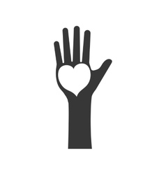 hand heart human help gesture fingers palm icon vector image