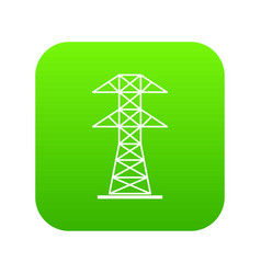 high voltage tower icon digital green vector image