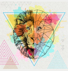 Hipster animal realistic and polygonal lion on vector