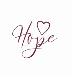 Hope logo with heart isolated on white vector