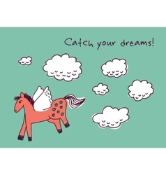Horse dreams and clouds card vector image