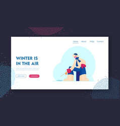 ice fishing website landing page fisherman in vector image