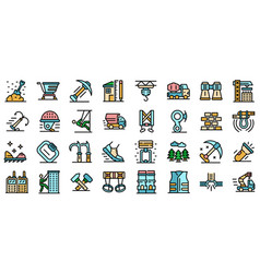 industrial climber icons set line color vector image