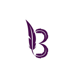 letter b feather logo icon concept vector image
