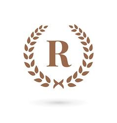 Letter R laurel wreath logo icon design template vector
