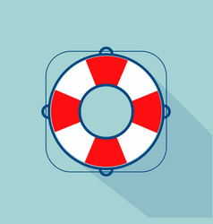 lifebuoy icon with long shadow vector image