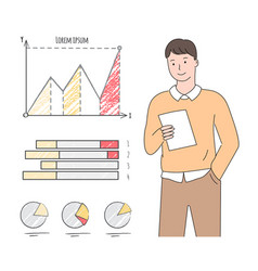 Man with sheet paper charts and graphs vector
