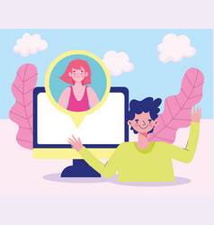 Meeting online couple connected computer talking vector