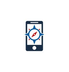 Mobile compass logo icon design vector