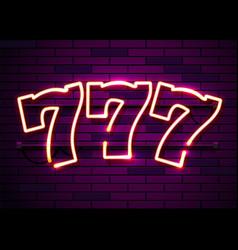Neon 777 slots sign casino neon signboard online vector