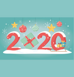 new year 2020 greeting card sled with gifts balls vector image