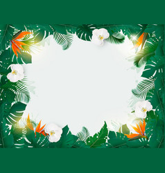 oliday background with exotic palm leaves and vector image