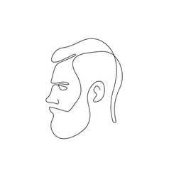 One line bearded man head design silhouette vector