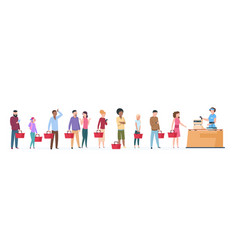 people queue man and woman standing waiting in vector image