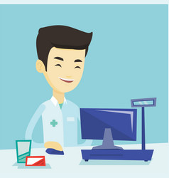 Pharmacist at counter with cash box vector