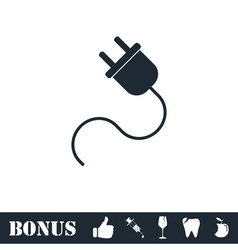 Power cord icon flat vector