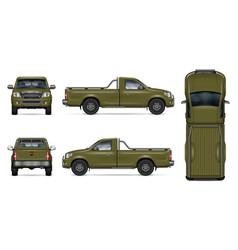 realistic green pickup truck vector image