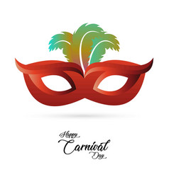 red carnival mask with colorful feathers and vector image
