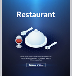 restaurant poster of isometric color design vector image