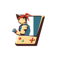 retro video game portable with ninja vector image