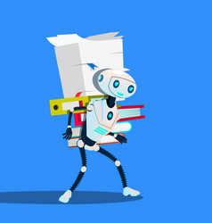 robot is carrying stack of office folders vector image