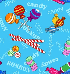 Seamless candy pattern over blue with bonbon and vector image