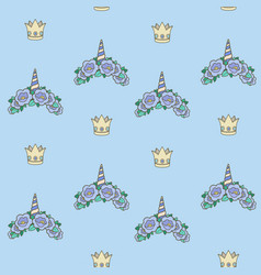 seamless pattern from blue unicorn tiaras various vector image