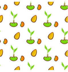 seamless pattern with sprout organic seed plant vector image