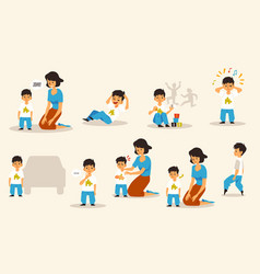 Set of mother and child with autism disorder flat vector