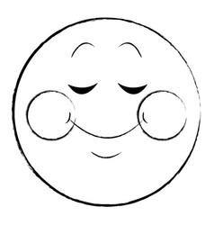 Shy smile chat emoticon sketch vector
