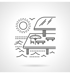 Tropical resort flat line icon vector image