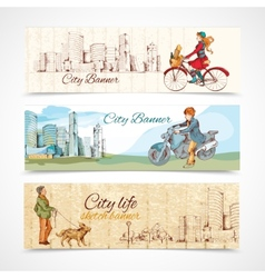 Urban people horizontal banners sketch colored vector