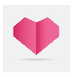 Valentine love pink heart paper craft in frame vector
