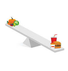 Vegetable and fast food teeter vector