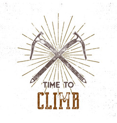 vintage adventure label time to climbing vector image