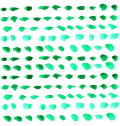 Watercolor green drops over white vector image